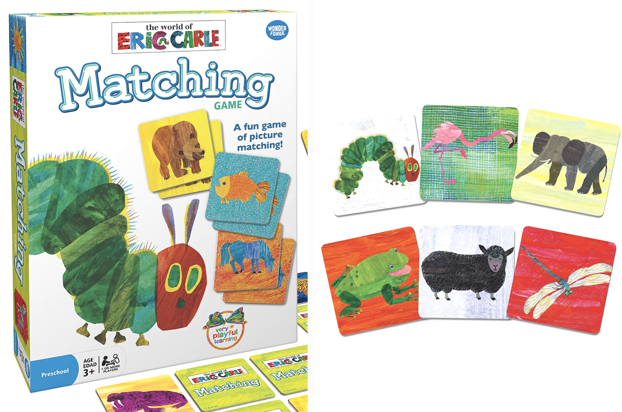 An animal-themed matching game illustrated by Eric Carle.