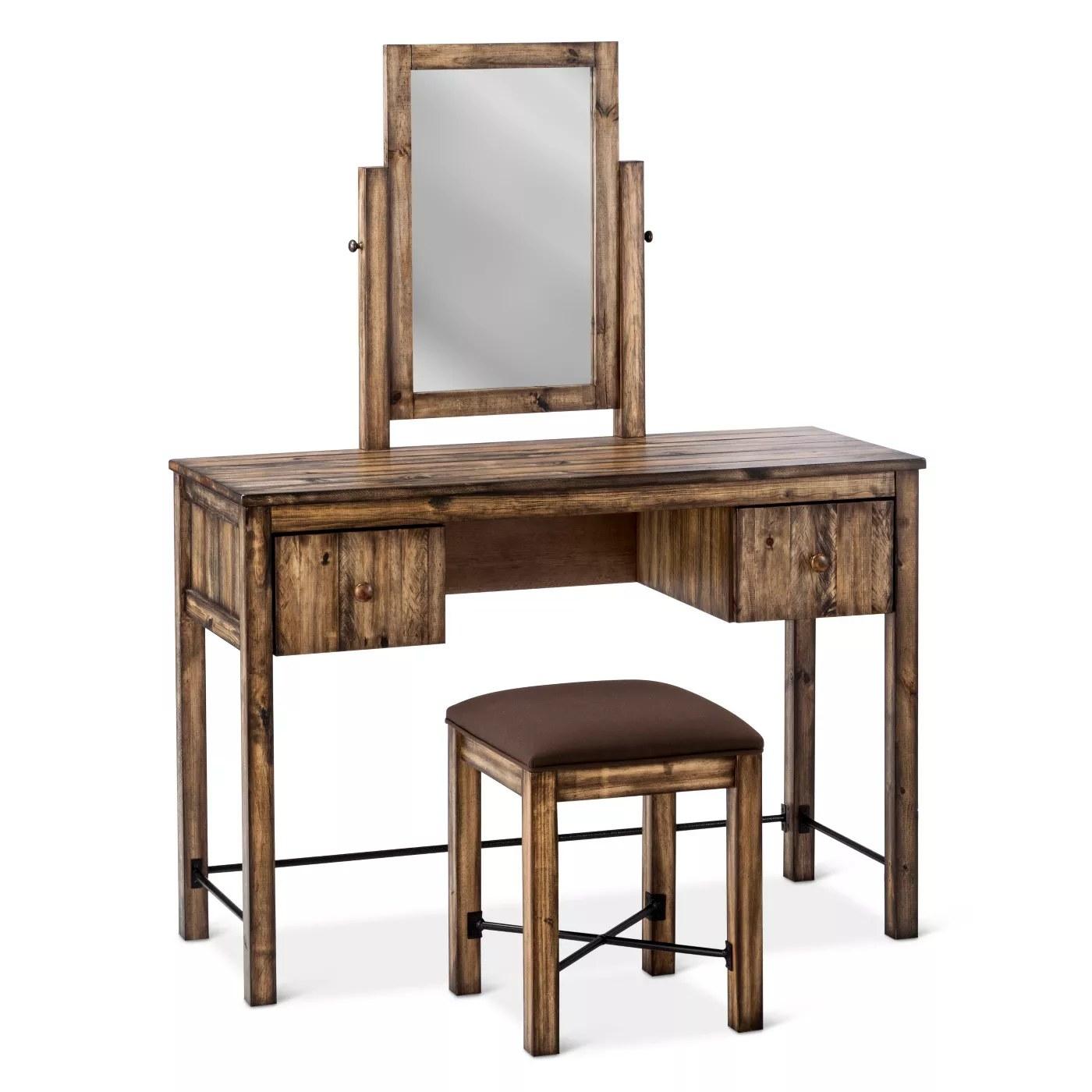 The weathered wooden vanity set