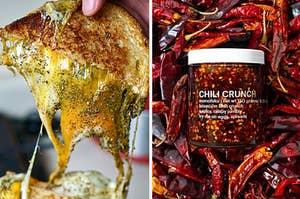 L: Grilled cheese with za'atar R: Momofuku chili crunch jar