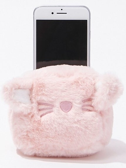 Photo of phone inside a pink animal pouch