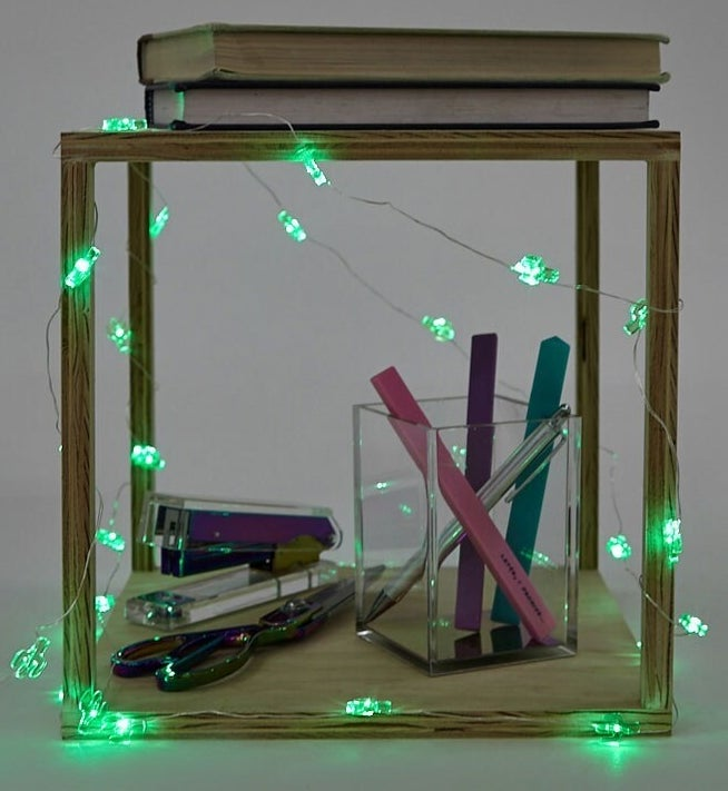 Photo of green cactus lights wrapped around wooden table