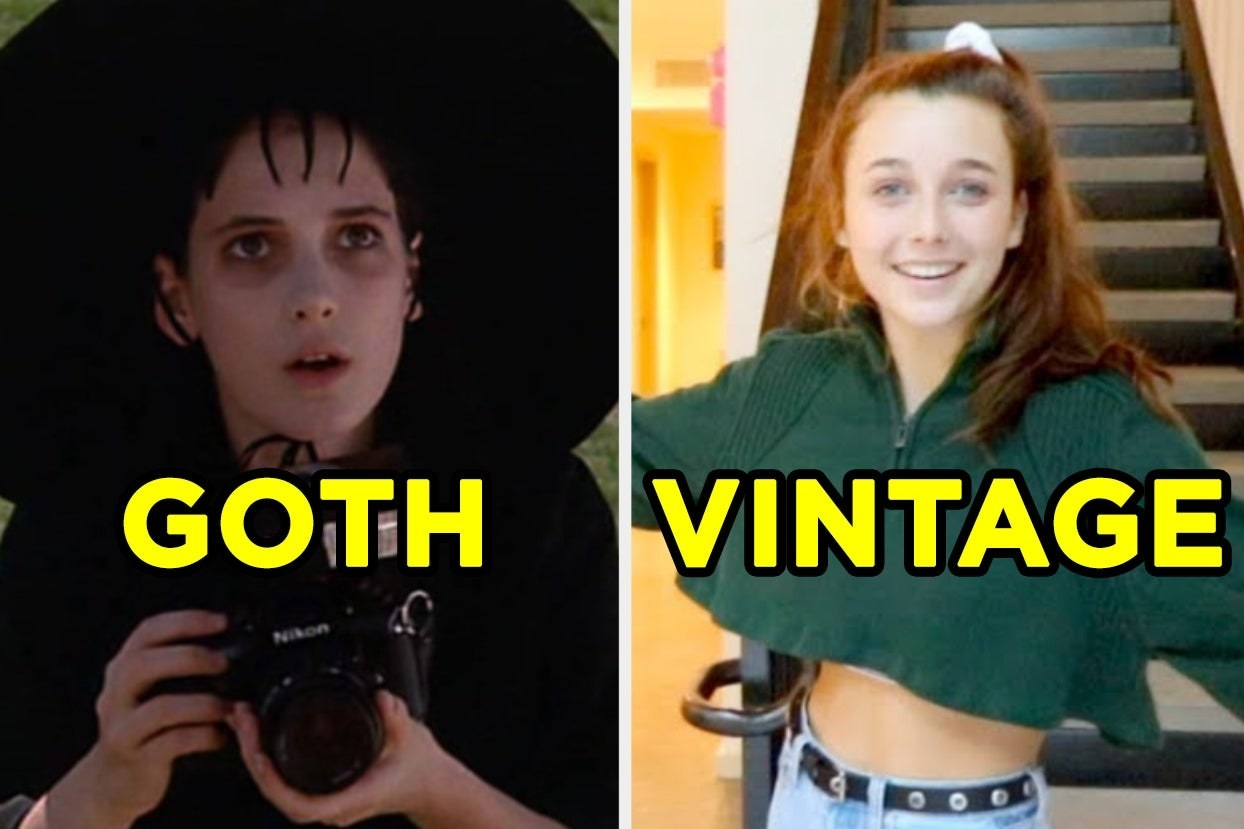 "Winona Ryder in Beetlejuice labeled ""Goth"" and Emma Chamberlain labeled ""Vintage"""