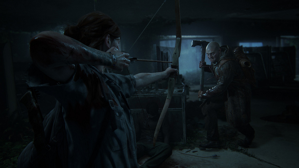 A screenshot from video game The Last Of Us 2 with a realistic-looking man with an ax charging a woman