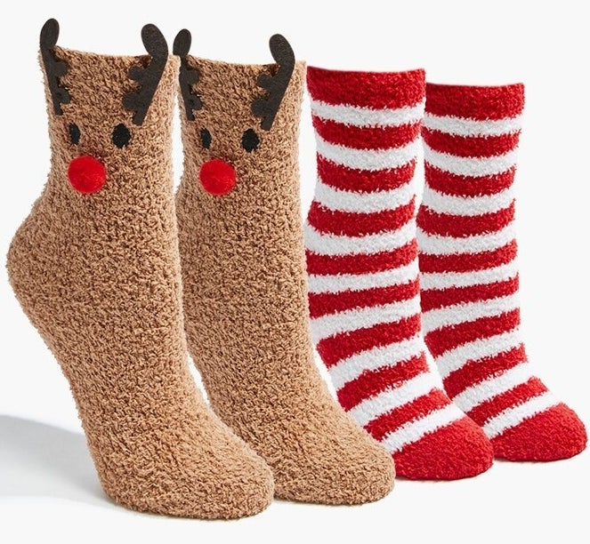 Photo of brown reindeer socks and red and white striped socks