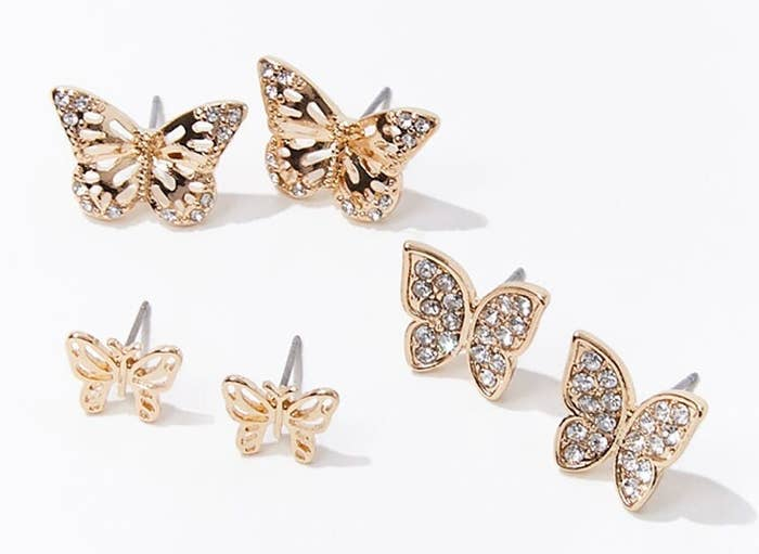 Photo of three butterfly studded earrings
