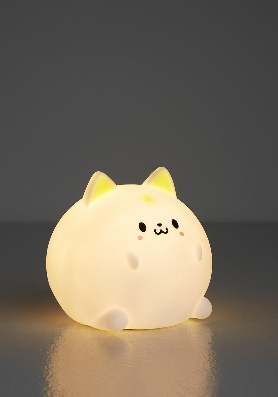 a round, cat-like night light