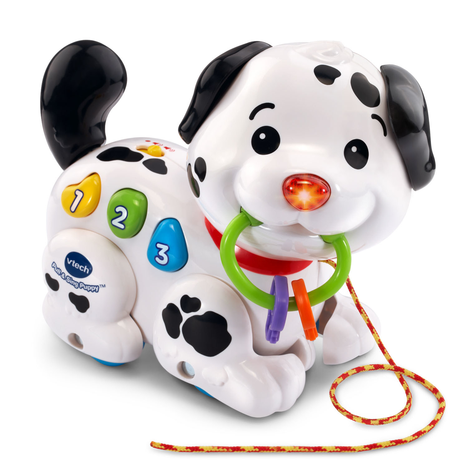 Plastic puppy with leash and interactive buttons
