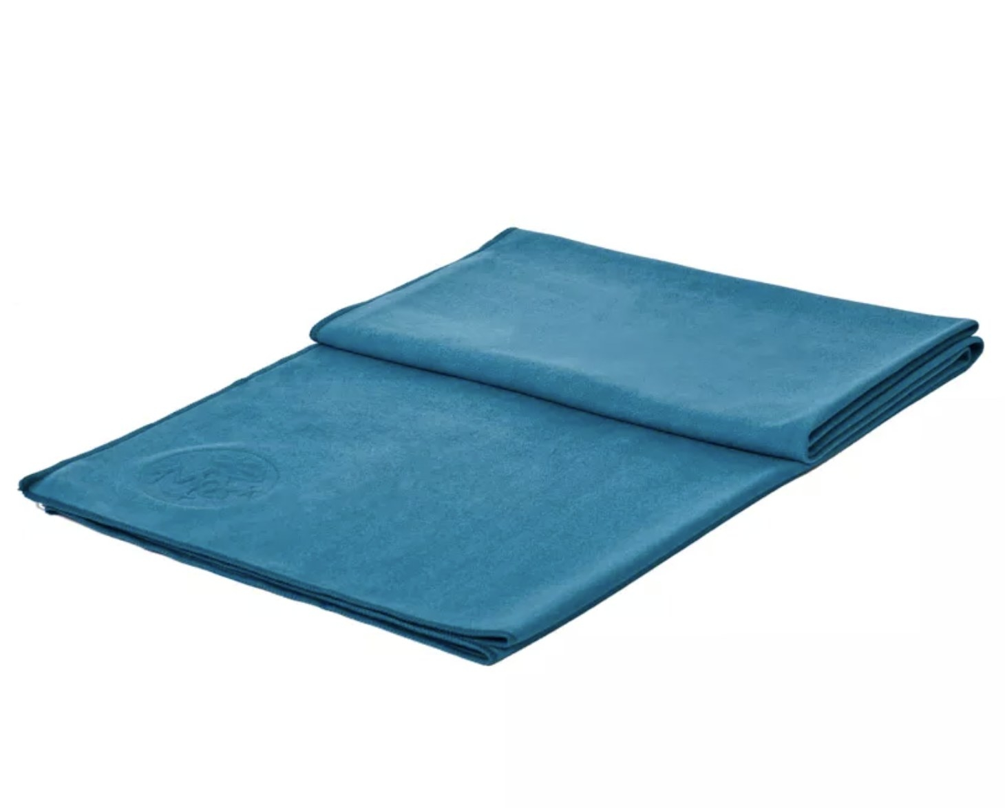 A blue yoga mat towel