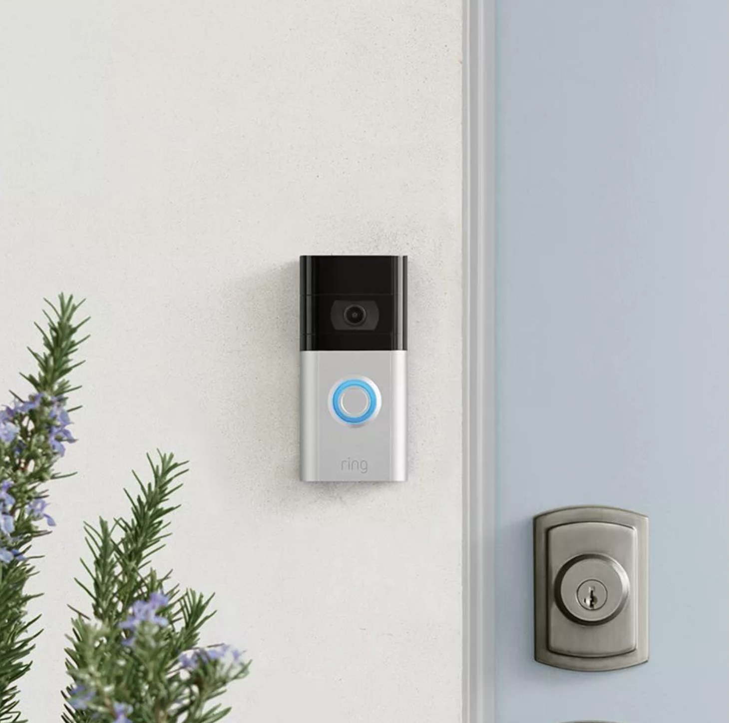 The ring video doorbell on a house