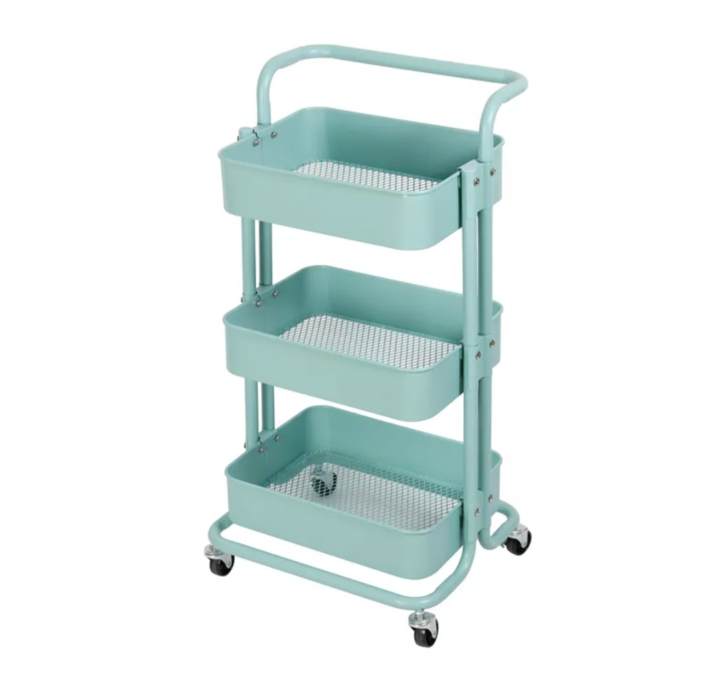A mint three-tier storage caddy