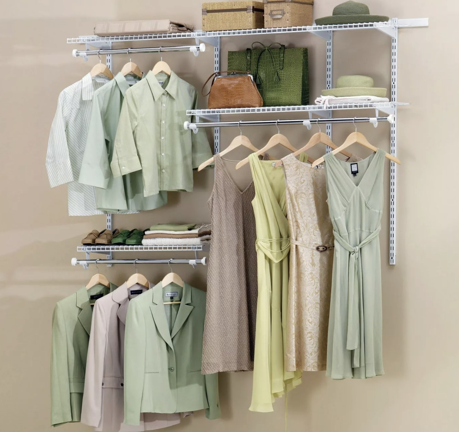 The walk-in closet kit installed with clothes