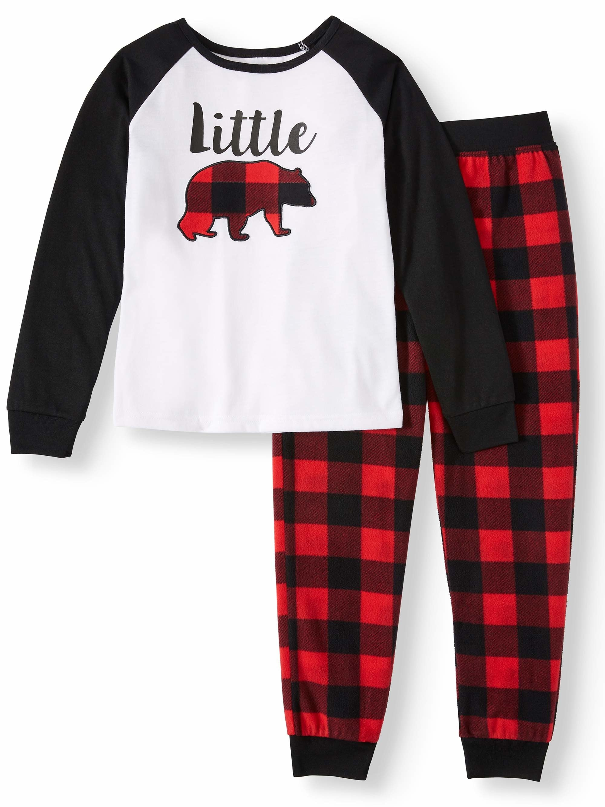 Black and white pajama shirt and matching red and black buffalo plaid pants