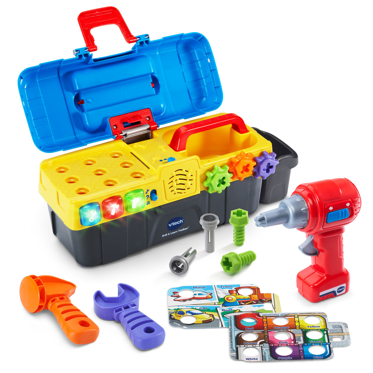 Colorful toolkit with handy play tools and interactive buttons