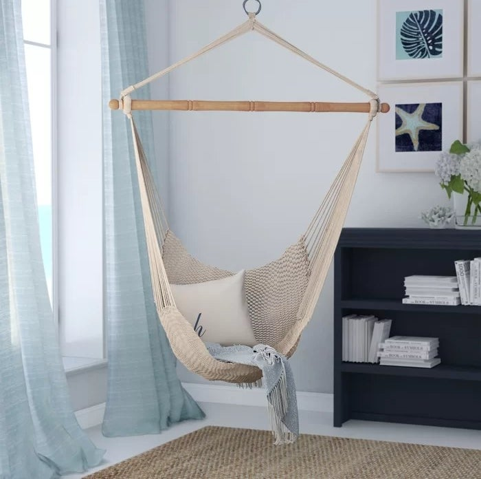 The hammock hanging from the ceiling