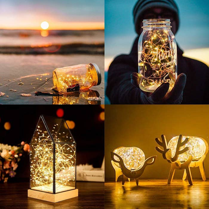 The lights pictured in glass bottles, a geometric glass container, and animal-shaped lamps.