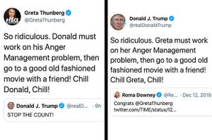 Side by side of Greta Thunberg's and Donald Trump's tweets