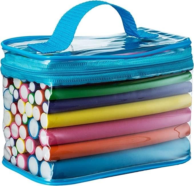 Multicoloured foam rollers in a bag.