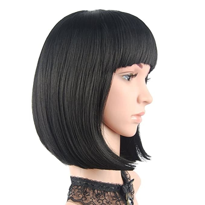 Short straight wig with bangs.