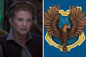 Leia Organa next to an image of the Ravenclaw crest