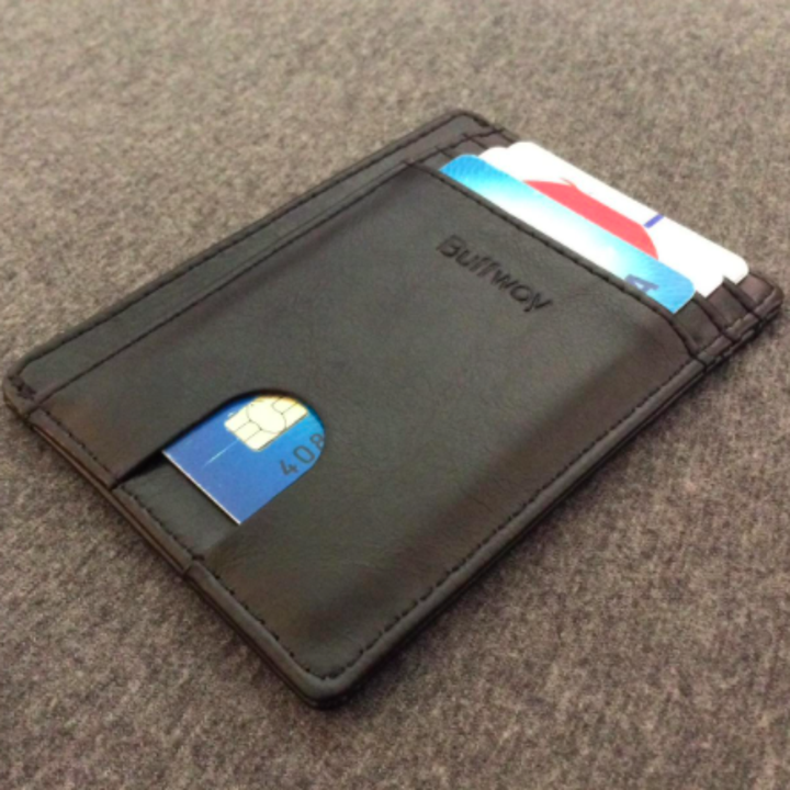 reviewer photo of wallet with multiple cards in it