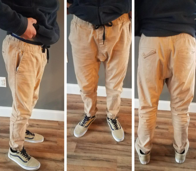 reviewer photo showing three different angles of reviewer wearing joggers in khaki