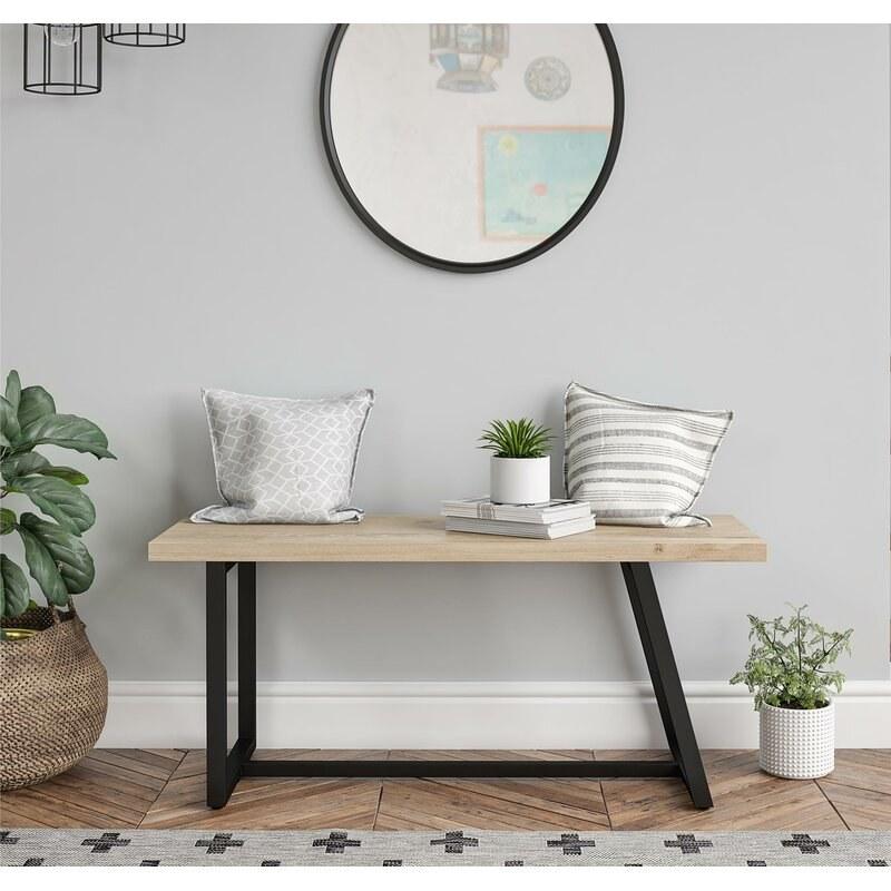 neutral wood finish metal base bench