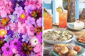 A bunch of flowers are on the left with an assortment of appetizers and drinks on the right