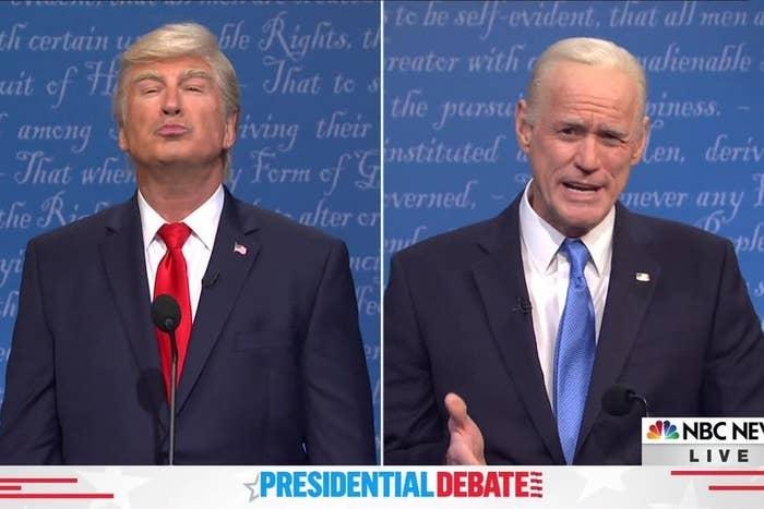 """Alec Baldwin as Donald Trump and Jim Carrey as Joe Biden during a presidential debate skit on """"SNL"""""""