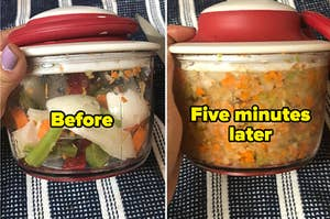 Before and after of roughly chopped veggies looking finely minced in a dicer