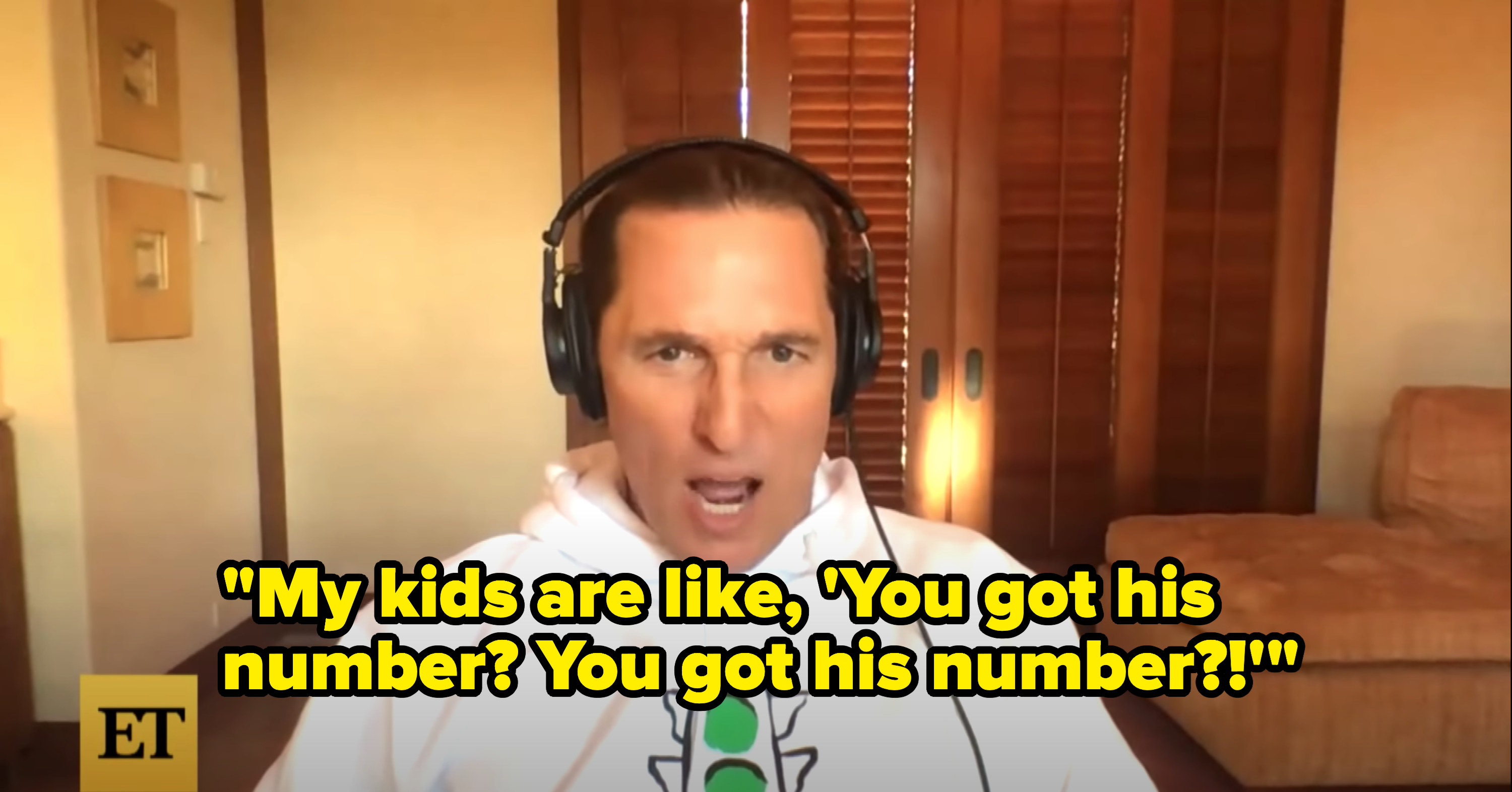 """Matthew says, """"My kids are like, 'You got his number? You got his number?!'"""""""