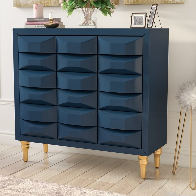 rectangular chest with textured drawers