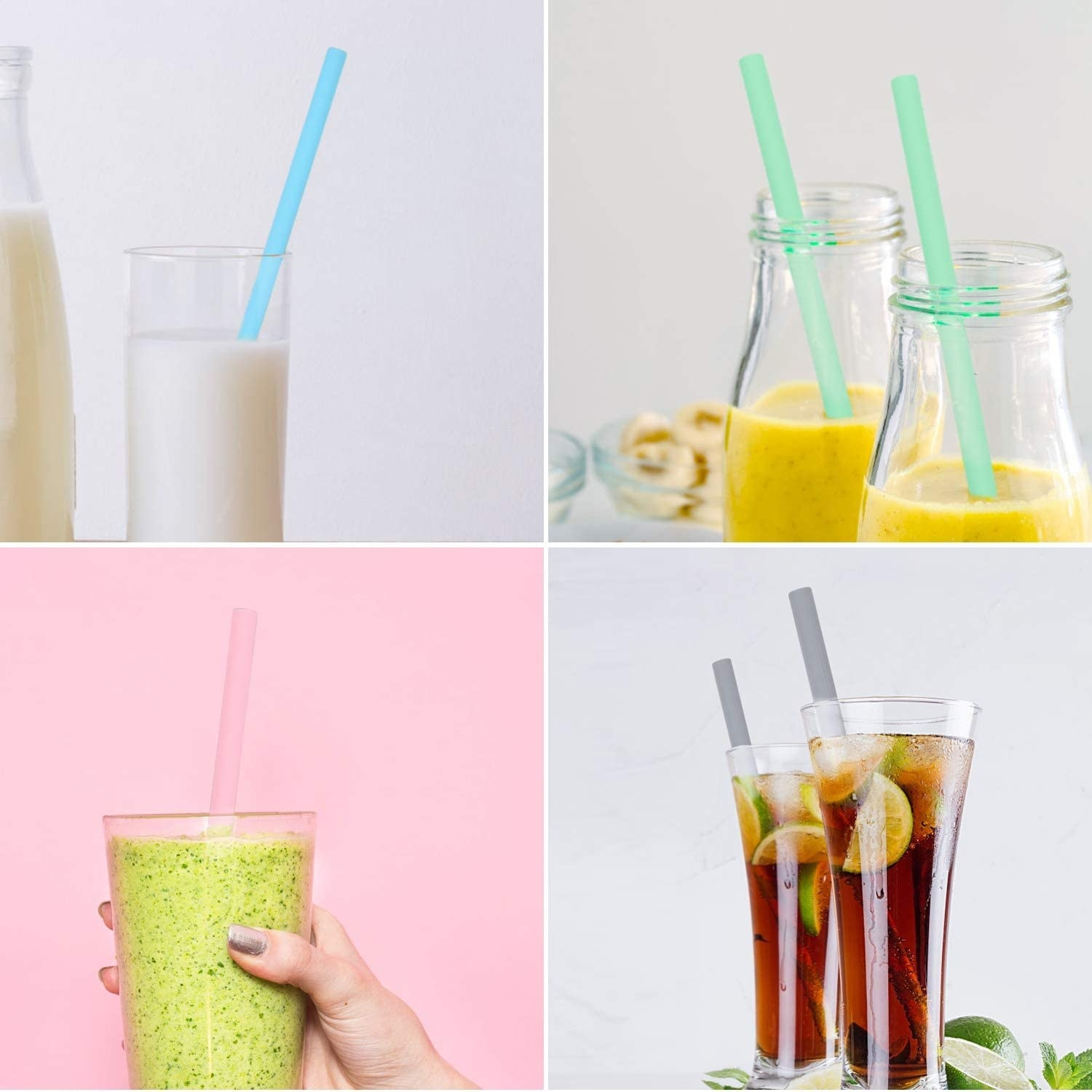 The colorful straws being used in smoothies, milk, and iced tea