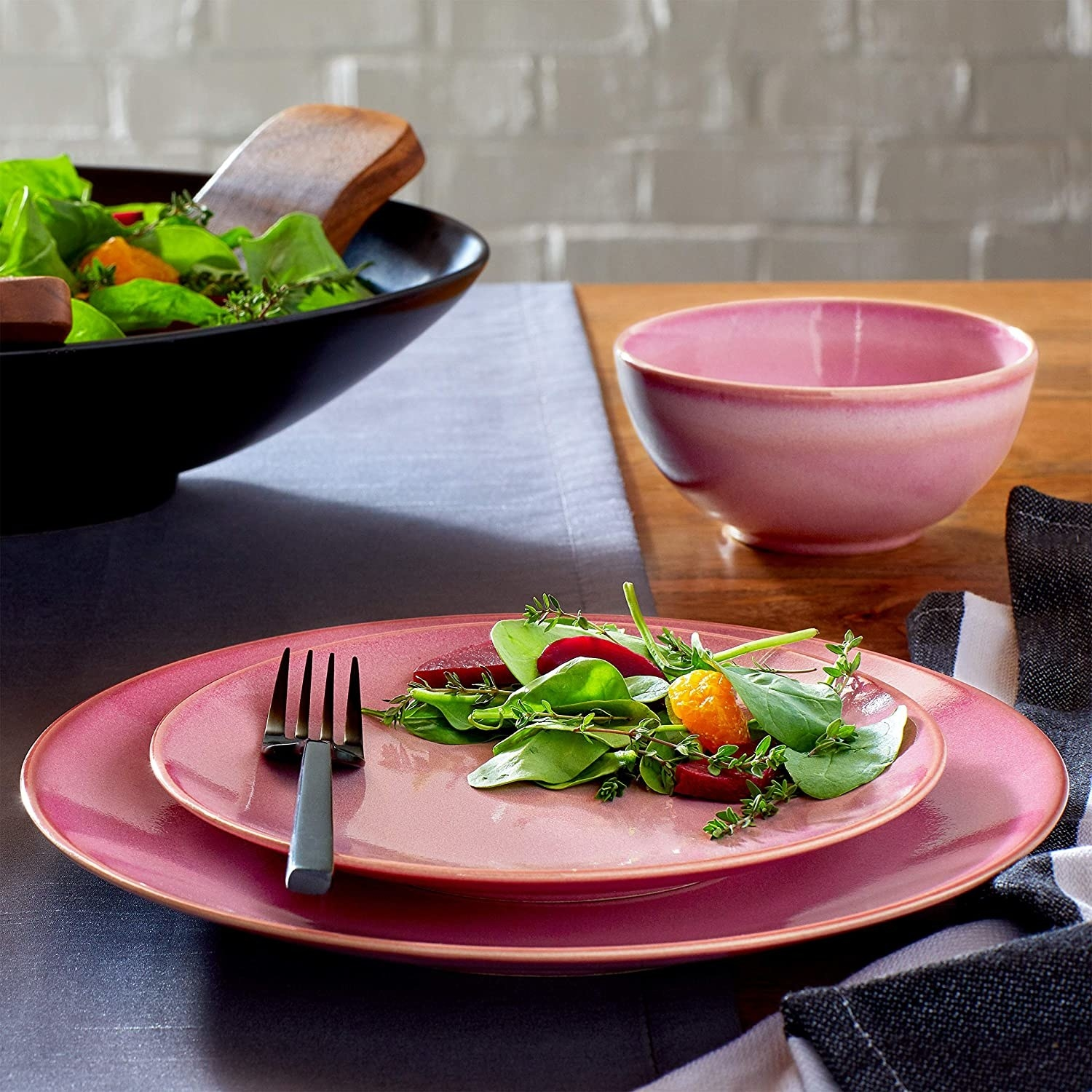 A dinner plate, salad plate, and bowl