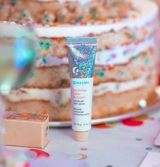 """The lip balm in the flavor """"birthday cake"""""""