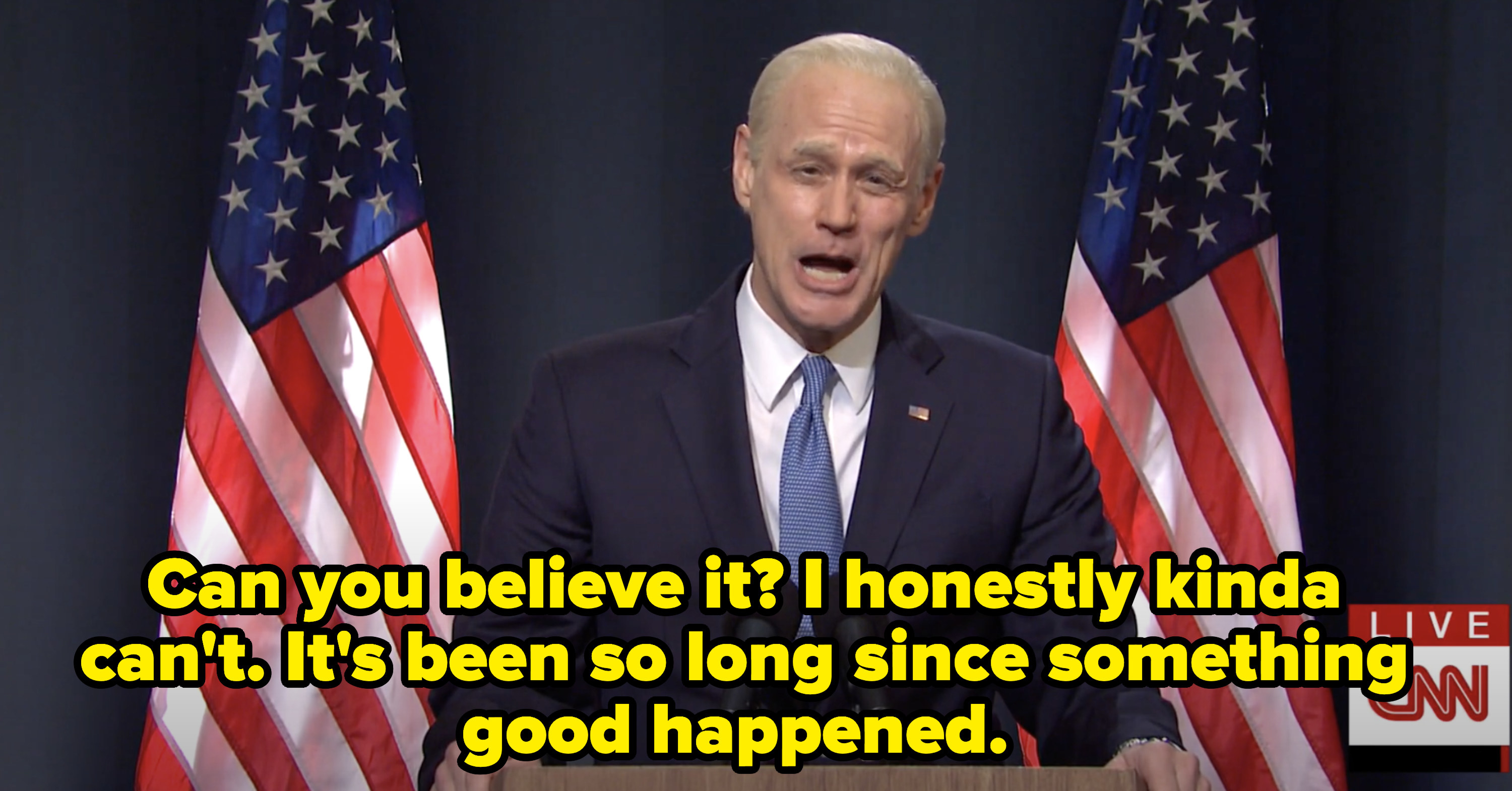 Biden saying he can't believe it and that it's been so long since something good happened