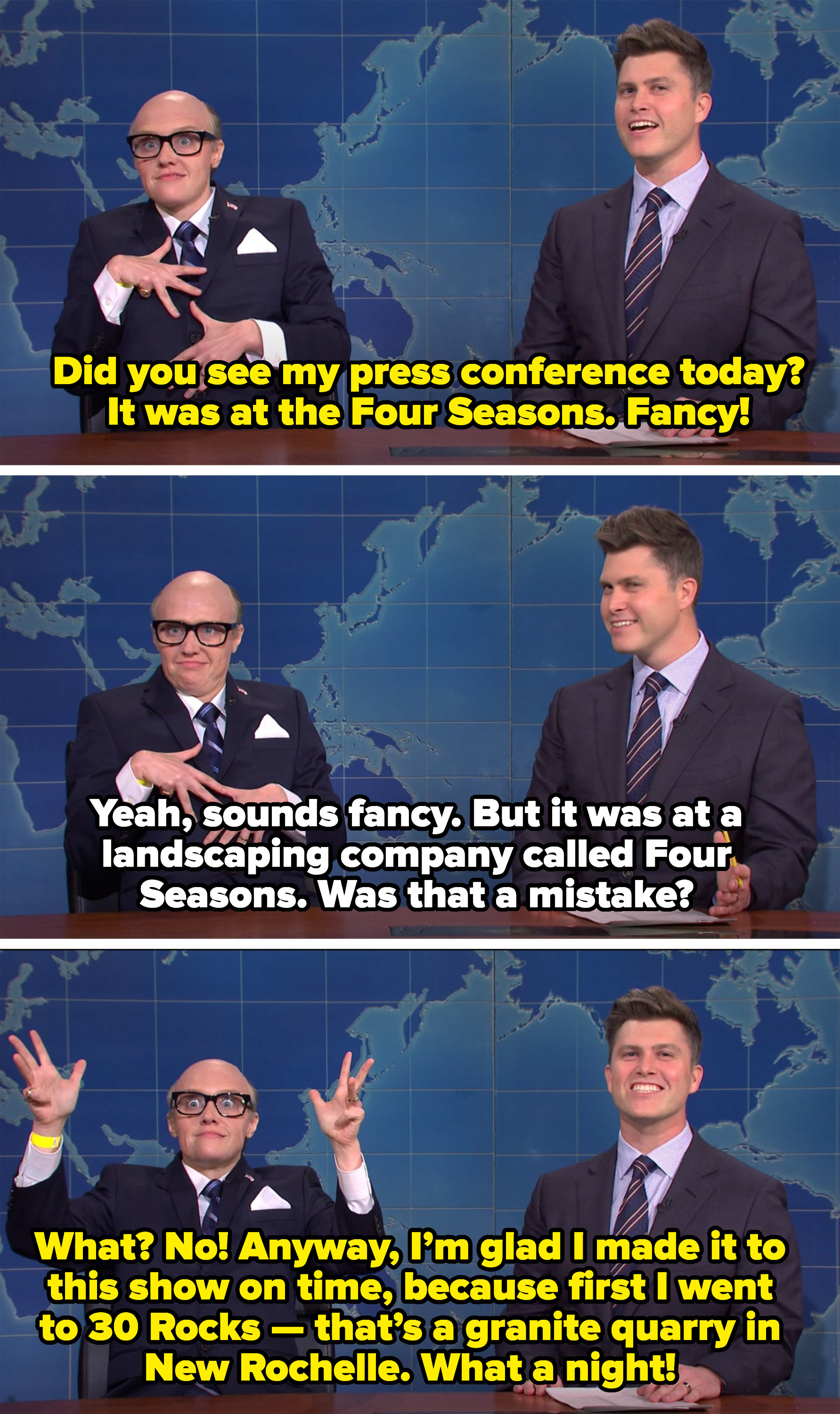 """Giuliani saying his press conference was fancy, not a mistake, and that he accidentally went to a granite quarry called """"30 Rocks"""" instead of the 30 Rock studio"""