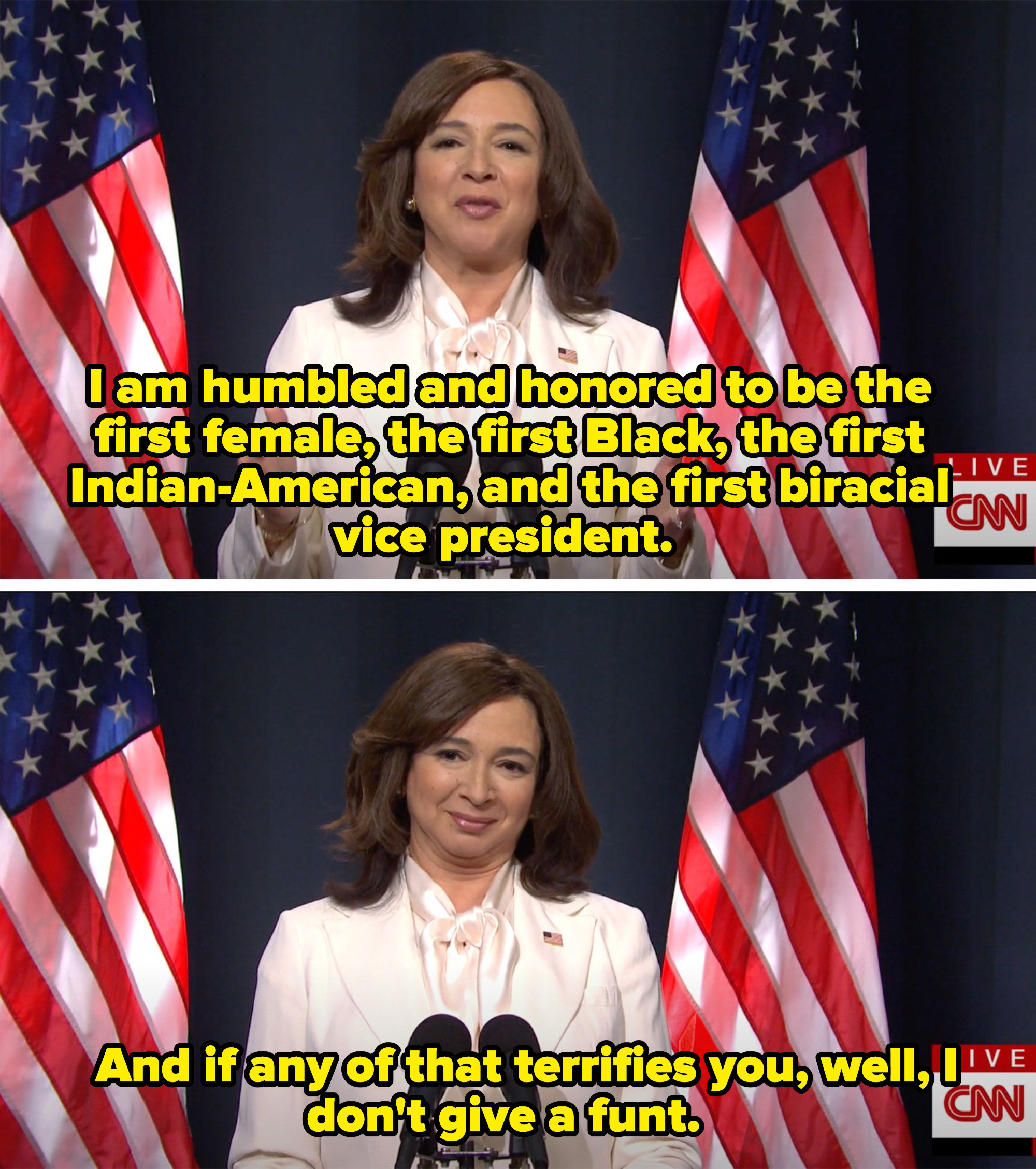 Harris saying she's proud to be the first Black, female, Indian-American, and biracial VP and that she doesn't give a funt if it scares you