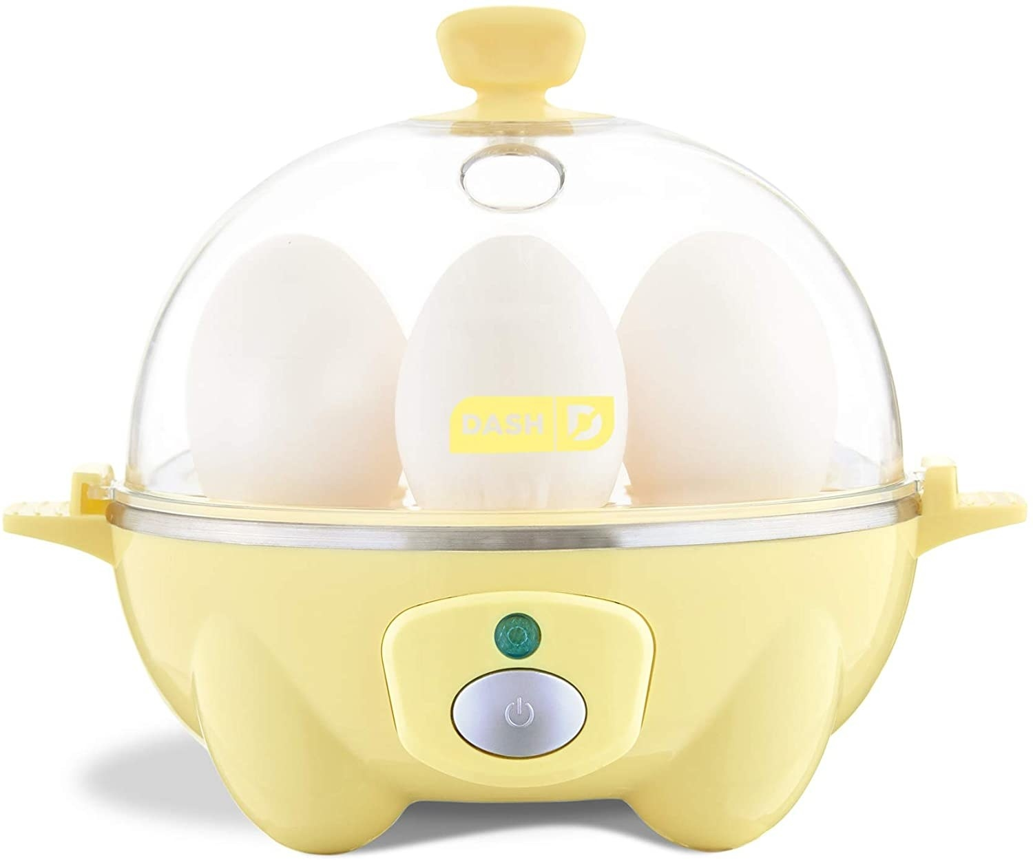 Pale yellow egg cooker isolated on a white background