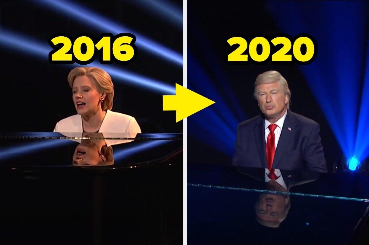 McKinnon at the piano in 2016 and Baldwin in 2020