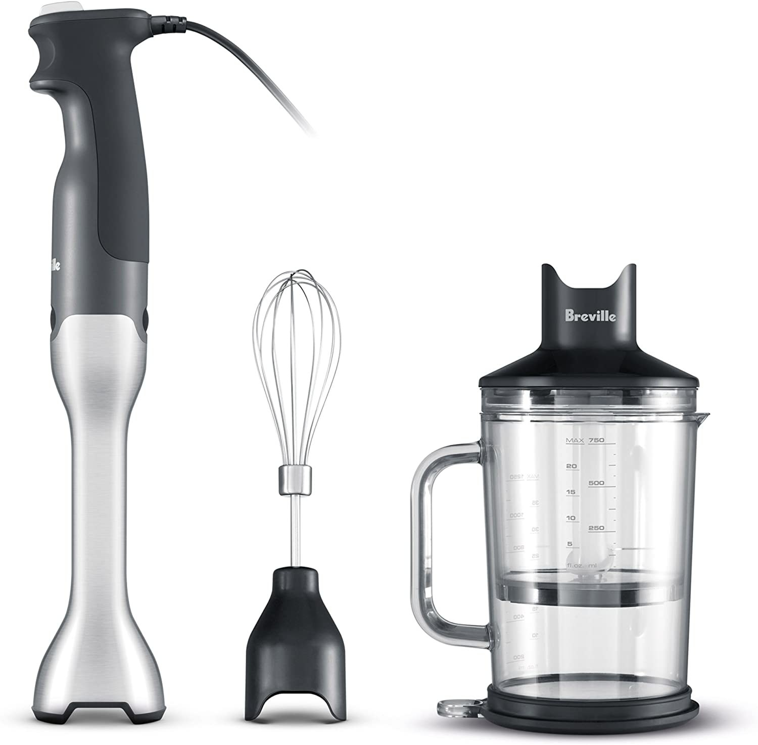 Multiple parts of an immersion blender isolated on a white background