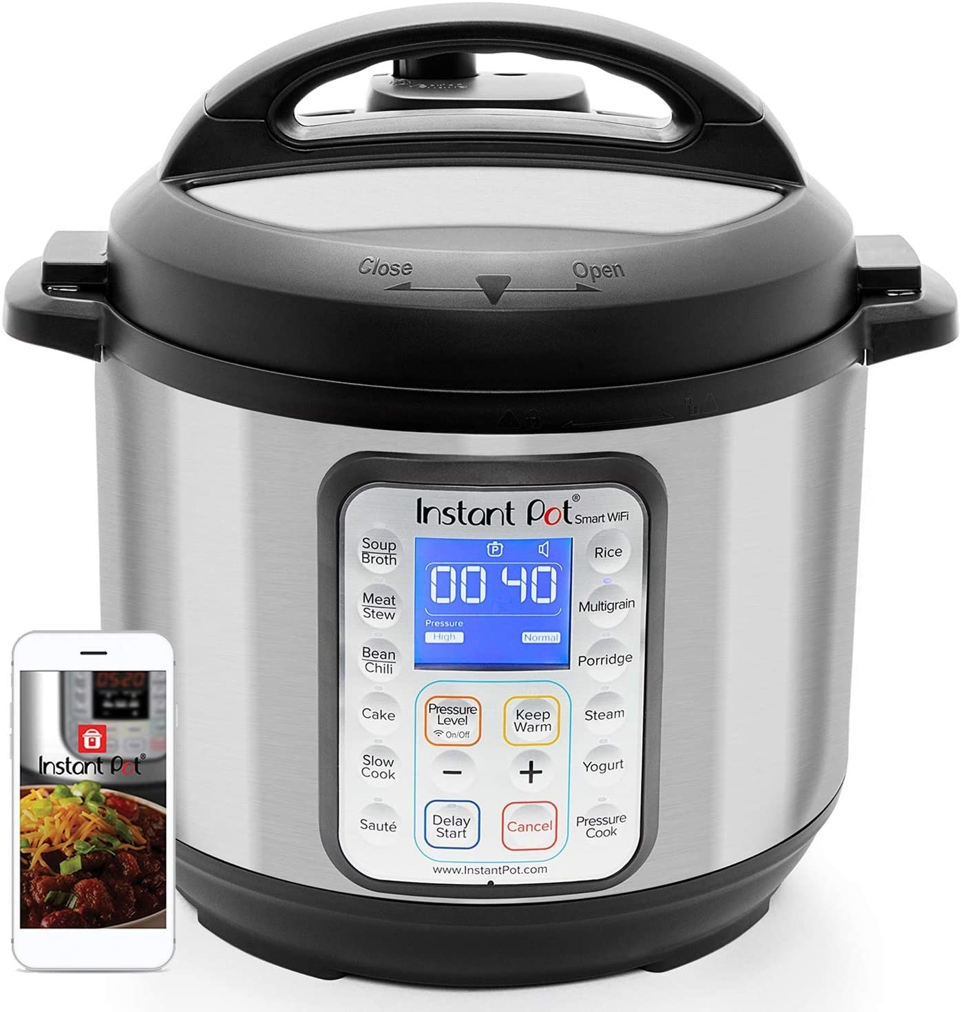 Instant Pot and a smartphone displaying the Instant Pot app isolated on a white background