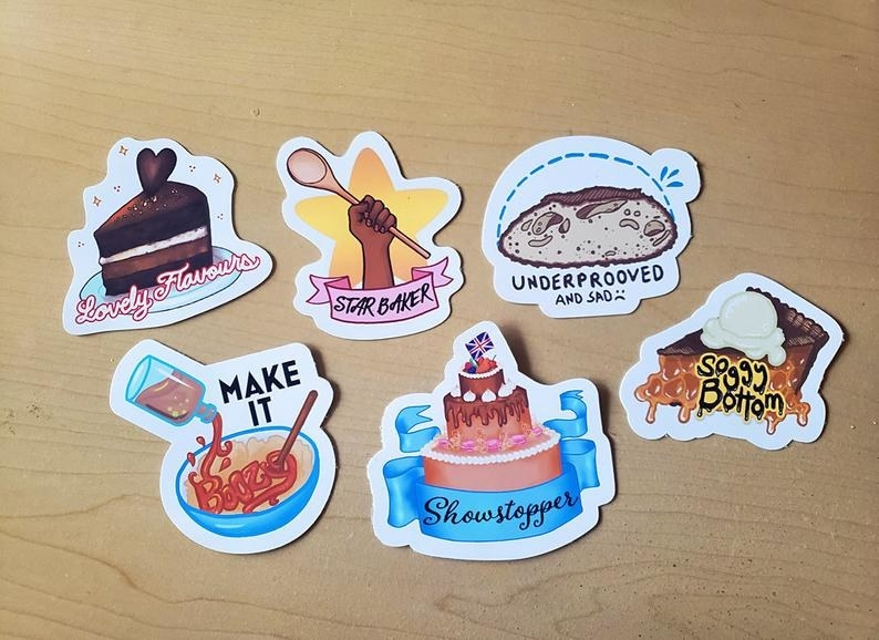 various illustrated stickers