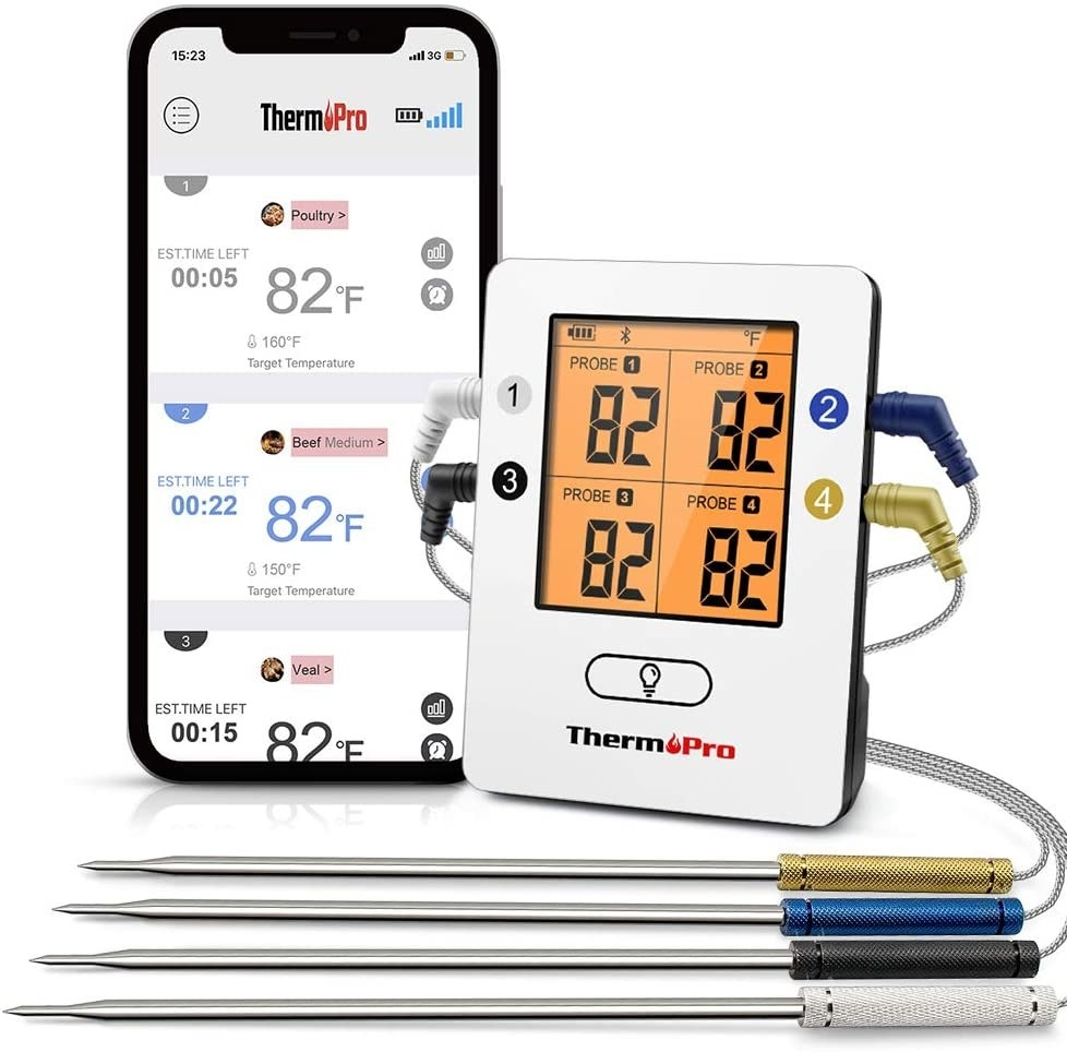 A smartphone displaying the ThermPro app, sitting next to the ThermPro smart digital thermometer, isolated on a white background