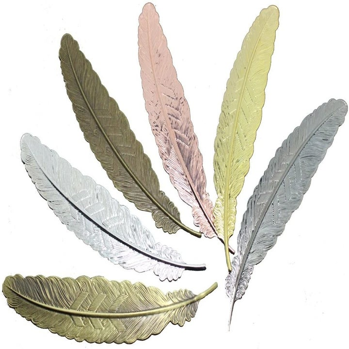 six feather-style bookmarks
