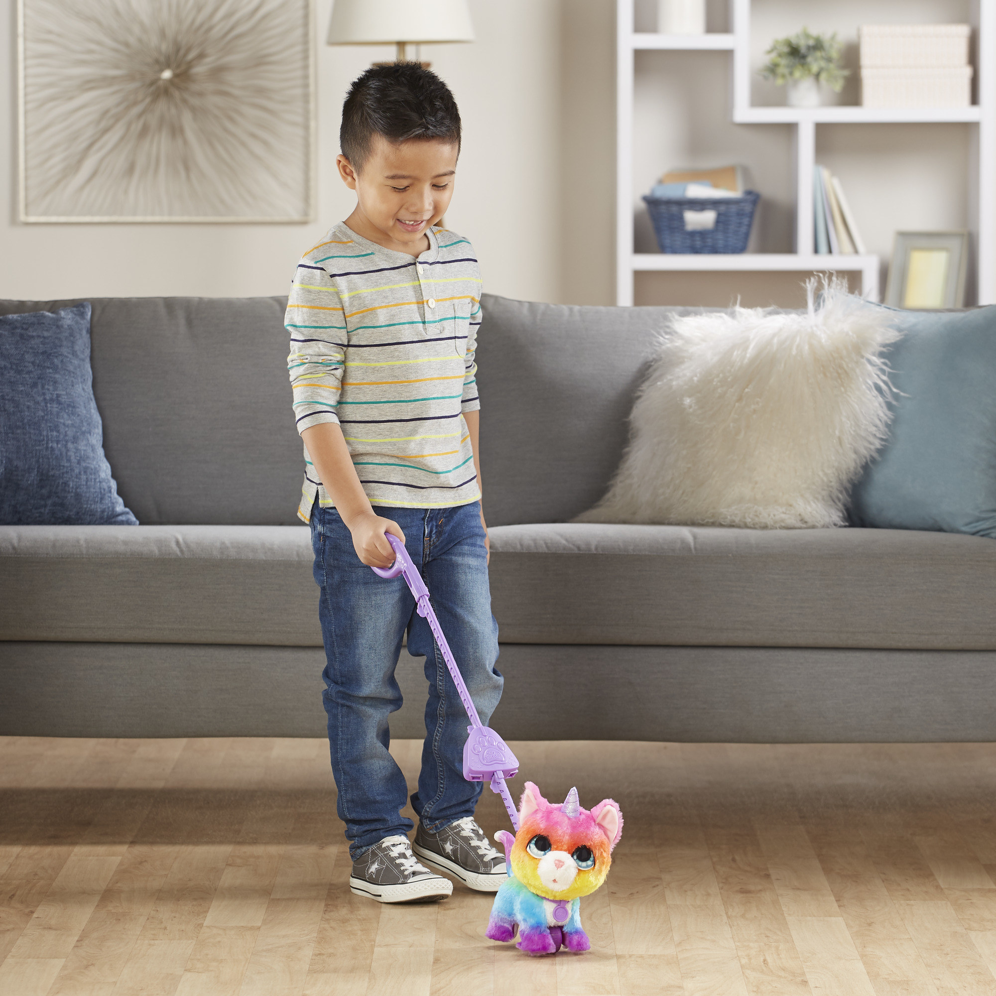 "The toy in ""unicorn,"" which ""walks"" on the end of a stick-like leash"