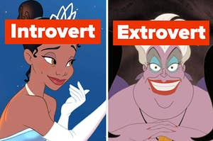 """Princess Tiana is labeled, """"introvert"""" on the left with Ursula labeled """"Extrovert"""" on the right"""