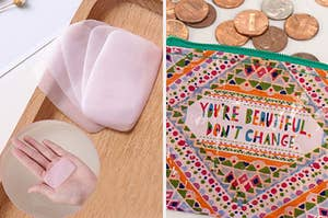 "split thumbnail of soap sheets and a holder, then change purse that says ""you're beautiful. don't change"""