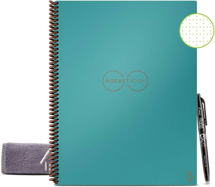Spiral digital notebook with accompanying pen and microfiber cloth