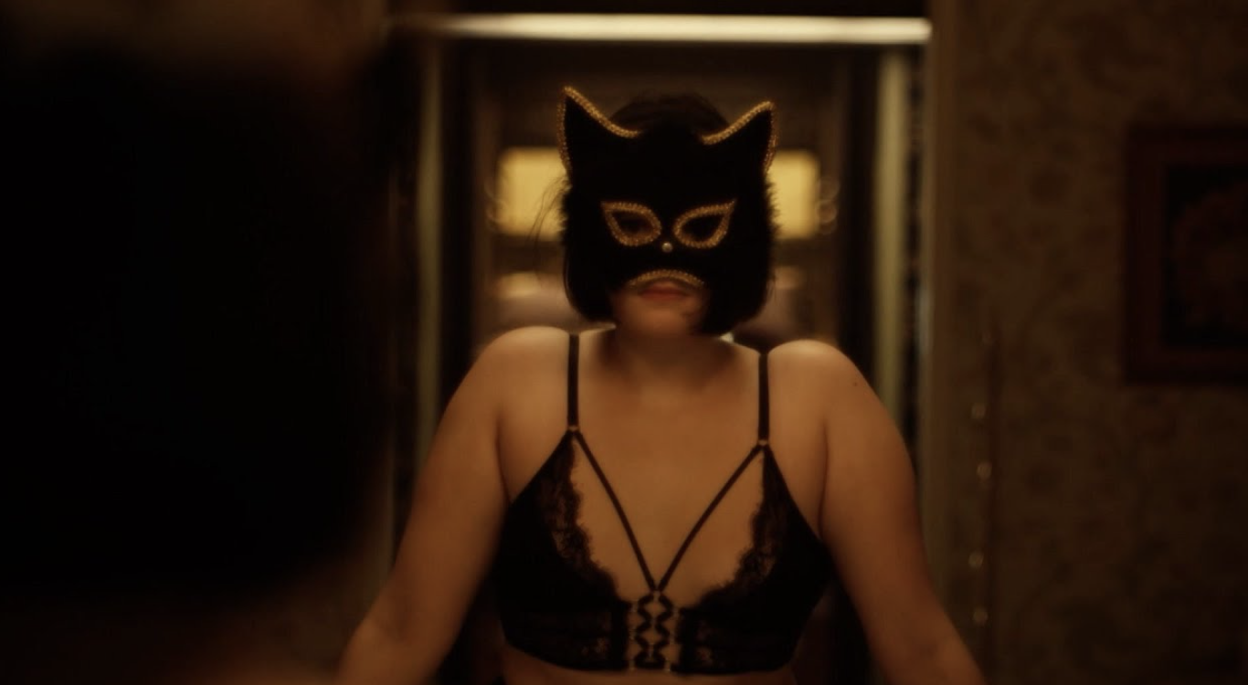 """Barbie Ferreira wearing a cat mask and lingerie while camming in """"Euphoria"""""""