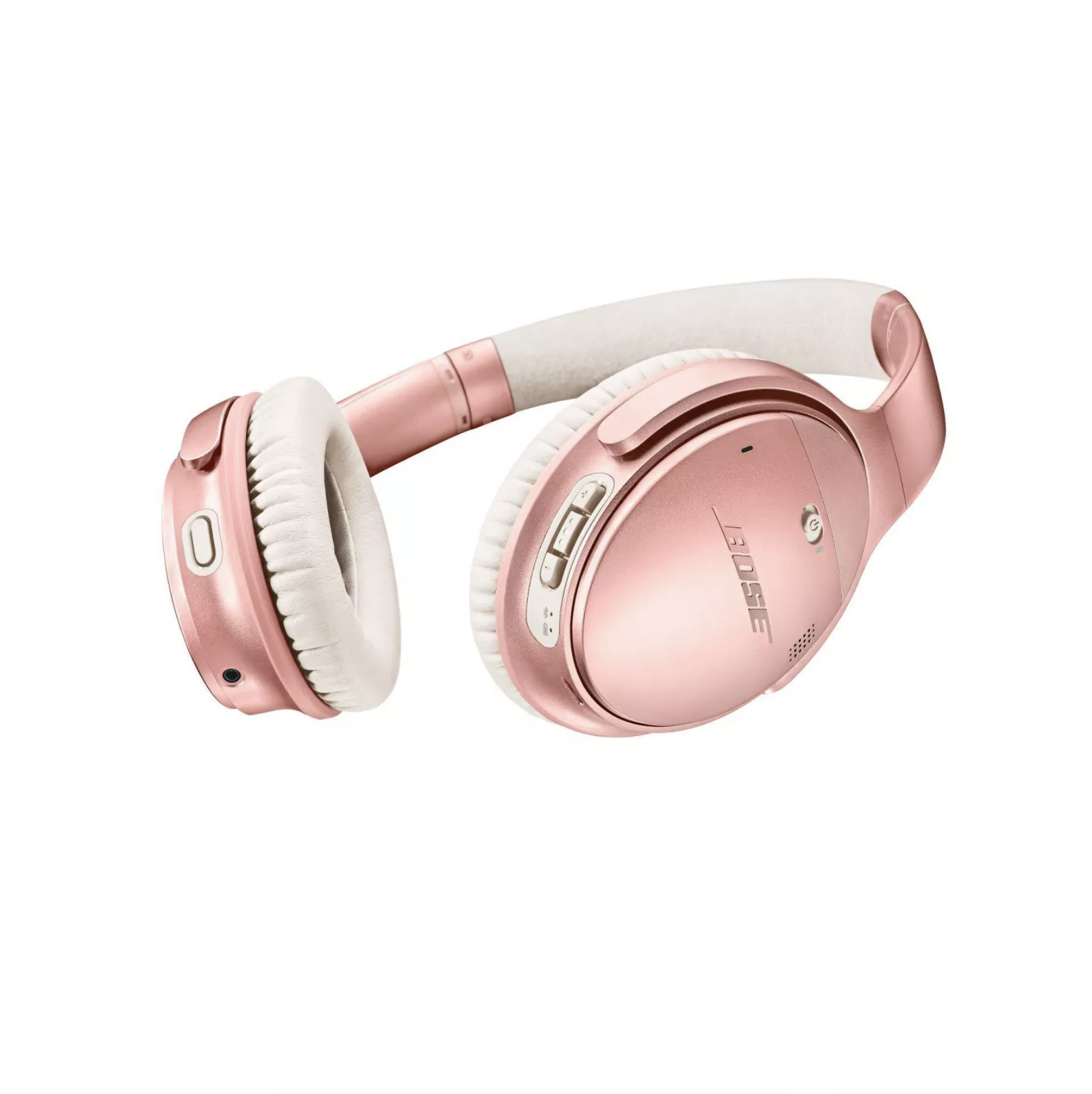Pink and white noise-canceling headphones isolated on a white background